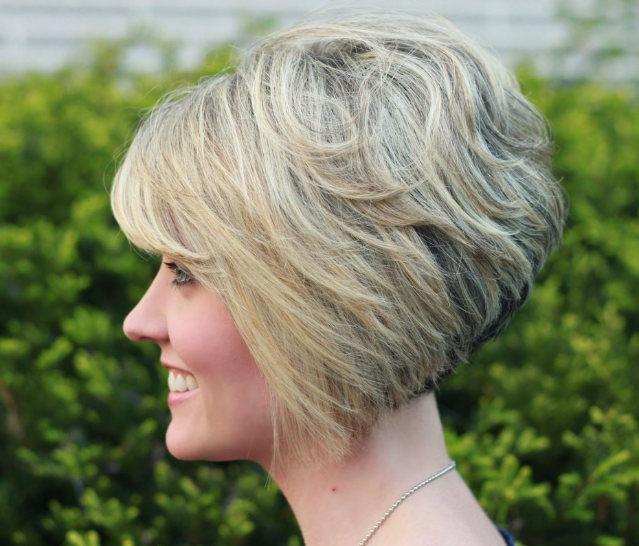 Stacked Bob Short Hairstyle For Older Women