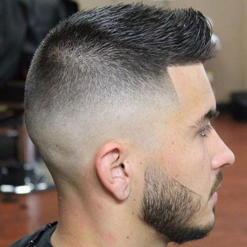 High and Tight High Skin Fade with Crew Cut and Beard