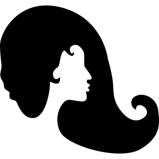 woman with long black hair in silhouette