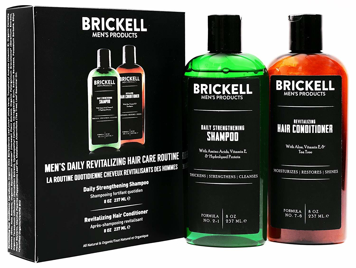 Brickell Men's Daily Revitalizing Hair Care Routine - Mint & Tea Tree Oil Shampoo + Strength & Volume Enhancing Conditioner - Natural & Organic